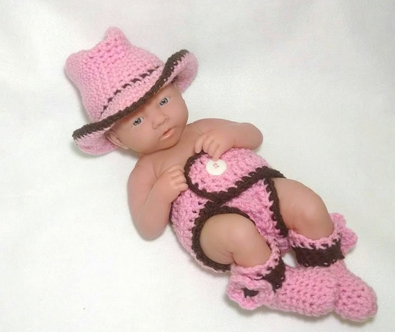 Newborn Crochet Cowgirl Cowboy Outfit baby crochet outfit baby
