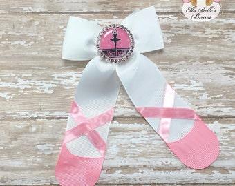 Personalized Ballet Slipper Hair Bow~ ballerina bow, ballet bow, ballerina hairbow, ballet hairbow