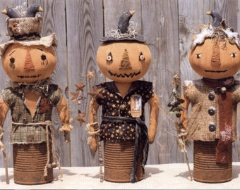 Primitive PATTERN Prim Canned Pumpkin Men