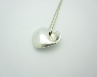 Tiffany & Co. Sterling Silver Carved Concave Heart Necklace 16""