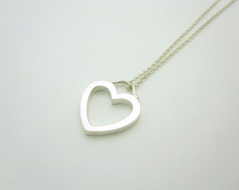 Tiffany & Co. Sterling Silver Heart Charm Pendant Necklace 16""