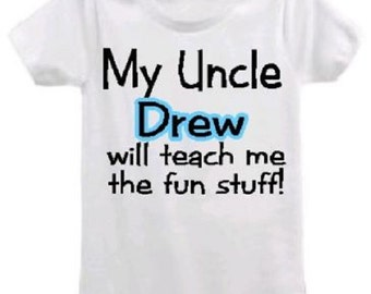 Personalized uncle baby shirt  uncle baby clothing one piece bodysuit tshirt  you choose size and color