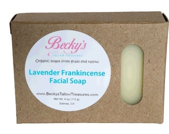 ORGANIC Grass Fed Tallow Soap -- Lavender Frankincense -- Facial Soap -- Organic Soap -- Tallow Soap -- 4oz