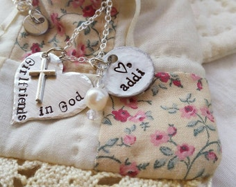 Hand stamped, Necklace, Girlfriends in God, baptisim gift