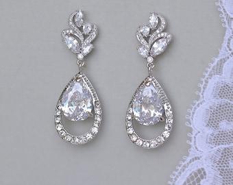 Swarovski Crystal Earrings, Chandelier Teardrop Bridal Earrings, Bridal Chandelier Earrings, Bridal Jewelry, ADELAIDE