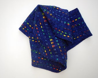 Handwoven navy blue chenille scarf woven 6 by 76 inches