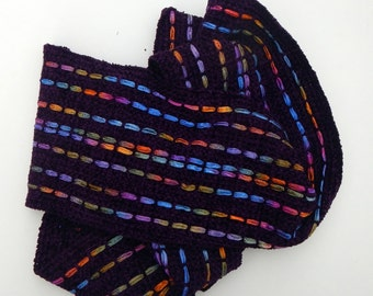 Purple scarf chenille scarf handwoven 6 by 76 inches