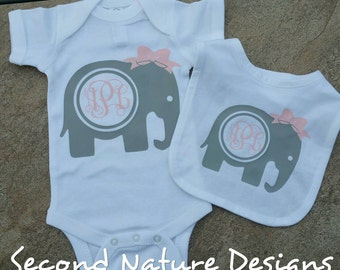 Girl's Elephant Monogram Newborn Baby Shirt and Bib Gift Set / Hospital Take Home Outfit | Monogram Elephant Shirt