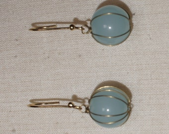Baby blue Chalcedony gold plate earrings.