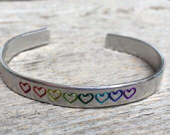 Pride Bracelet, Rainbow Bracelet, Heart Bracelet, Rainbow Pride Bracelet, Pride Jewelry, Gift under 20