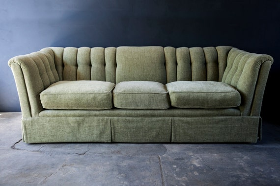 vintage green sofa couch 70s. Black Bedroom Furniture Sets. Home Design Ideas