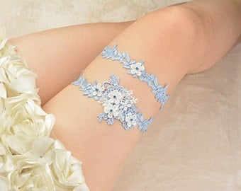 blue bridal garter set, wedding garter set,rhinestone  bride garter, lace garter, something blue garter,bridal pearl beaded lace garter set