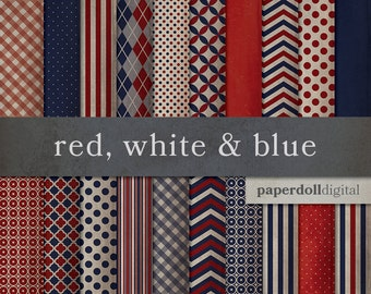 Vintage Patriotic Digital Paper - Red, White and Blue Craft Paper - Distressed Digital Paper -Fourth of July Scrapbooking - 20 Sheets