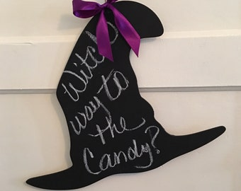 Halloween Sign, Chalk board, Witch Hat,