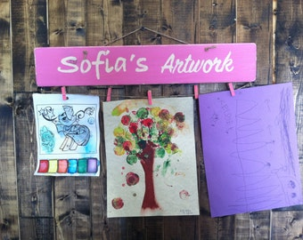 Art Display, Nursery Room Decor, Personalized Art Board, Customized Art Display, Kids Art Sign, Kids Artwork Display, Kids Art Hanger