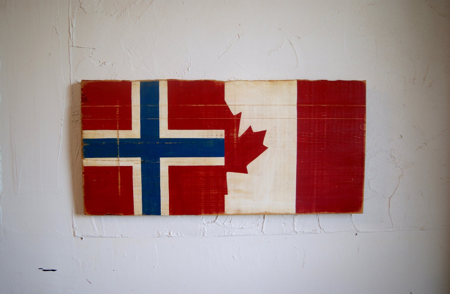 half norway half canada flag wood sign norway flag