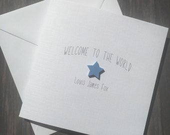 New Baby Boy Personalised Card Welcome To The World