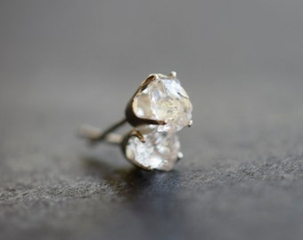 MADE TO ORDER Raw Diamond Earrings Rough Diamond Earring Natural Diamond Earring Wedding Earrings Bridal Studs Mothers Day Earrings