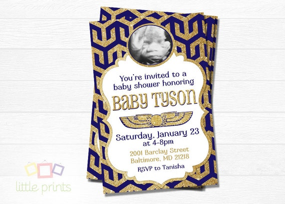 Egyptian Baby Shower Invites