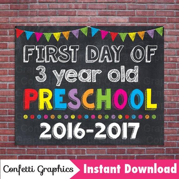 First Day Of 3 Three Year Old Preschool School 2016 2017