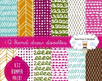 x12 Hand Drawn Digital Paper,Tribal,Geometric,Doodles,Seamless Patterns,Printable Scrapbook Paper,Dotty,Dashes,Invites,Cards,Print,Artwork