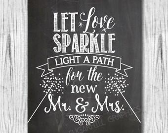 Chalkboard Wedding Sign, Printable Wedding Sign, Chalkboard Let Love Sparkle Sign, Rustic Wedding Decor, Wedding Signage