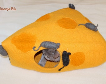 """Cat cave """"Cheese"""", cat bed, cat home, cat house felted wool colorful"""