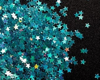 solvent-resistant glitter shapes-peacock hologram extra-small stars