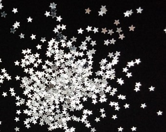 solvent-resistant glitter shapes-silver (metallic) extra-small stars