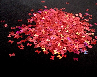 solvent-resistant glitter shapes-red hologram bows