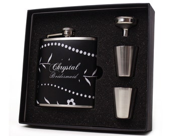 Wedding Party Gift // One Personalized Flask Gift Set for your Bridesmaid or Maid of Honor