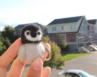 Handmade Needle Felted Baby Penguin Keychain