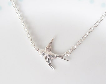 Cute Tiny Swallow Charm Chain Silver Necklace, Bird, Sparrow, Dainty, Pretty, Simple, Minimalist