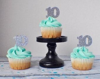Number Cupcake Toppers, cupcake toppers (12 toppers)