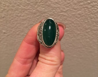 Clerance! Green Aventurine 925 Sterling Silver, Beautiful Ring!