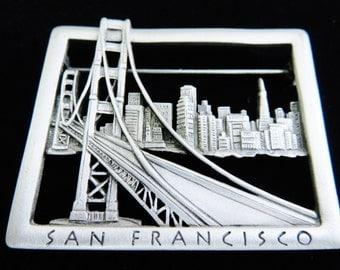 JJ Jonette Golden Gate Bridge San Francisco Brooch Pin