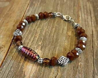 Chocolate Brown Czech Glass Lampwork Faceted Crystal Beaded Bracelet