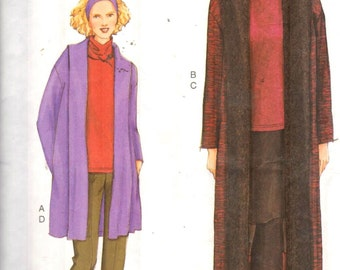 Vogue 7500, Sz 8-12/31.5-34'. Very Easy Unlined  Loose Fit Jacket/Duster/Long Coat & Funnel neck top,OOP Very Easy Very Vogue sewing pattern
