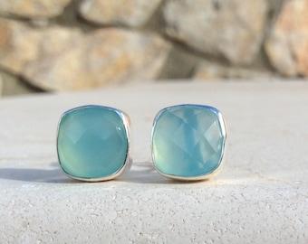 Blue Quartz Studs, Cushion Cut Stud Earrings, Gemstone Stud Earrings, Cushion Stone Earrings, Blue Quartz Sterling Silver Earrings