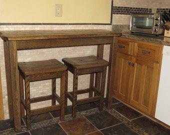Barn Wood Sofa Table Breakfast Bar with 2 Barn Wood Bar Stools