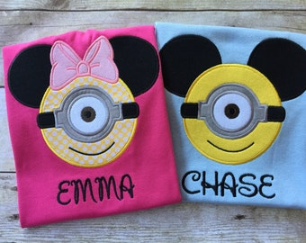 Minnie or Mickey Minion appliqued on a T-shirt. Inspired by Minnie Mouse and  Disney.