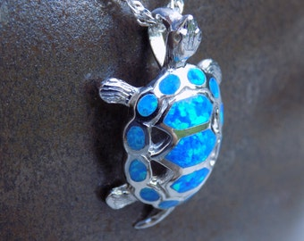 Blue Opal Turtle Pendant - Sterling Silver - Synthetic - Just over an Inch Long - Z1-278