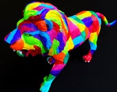 Original Rainbow Patches Hand-painted Lion Statuette