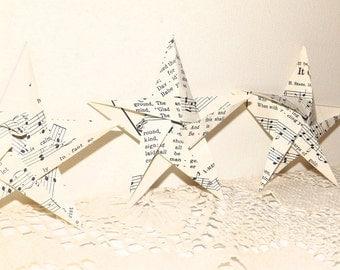 Baker's Dozen (13) Origami Stars Handmade Vintage Sheet Music Christmas / Wedding / Music Room Home Decor / Purchase 2 Sets and Get 1 FREE