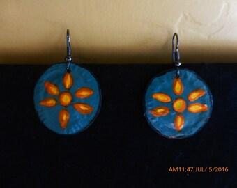 Metal Handpainted Flower earrings
