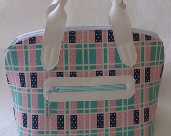 Domino Lola mini bowling domed handbag bag white faux leather and Cotton and Steel Lucky Strikes fabric.