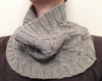 Scrollwork - cabled cowl, ring scarf, wool & alpaca loop
