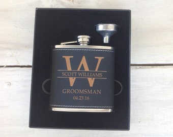 9 Groomsmen Leather Flask Set for Weddings, Best Man Flask-Groomsmen Flask- Bachelor Party Flask-Groomsman Flask-Personalized Wedding Flask
