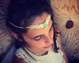 Macrame hearband Powerful Red Tiger eye  Tribal Headpiece Art of Goddess boho headband tribal jewelry crown artofgoddess