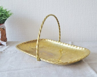 Vintage Brass Tray with Handle, Metal Serving Tray Serving Platter Rectangular Tray @133